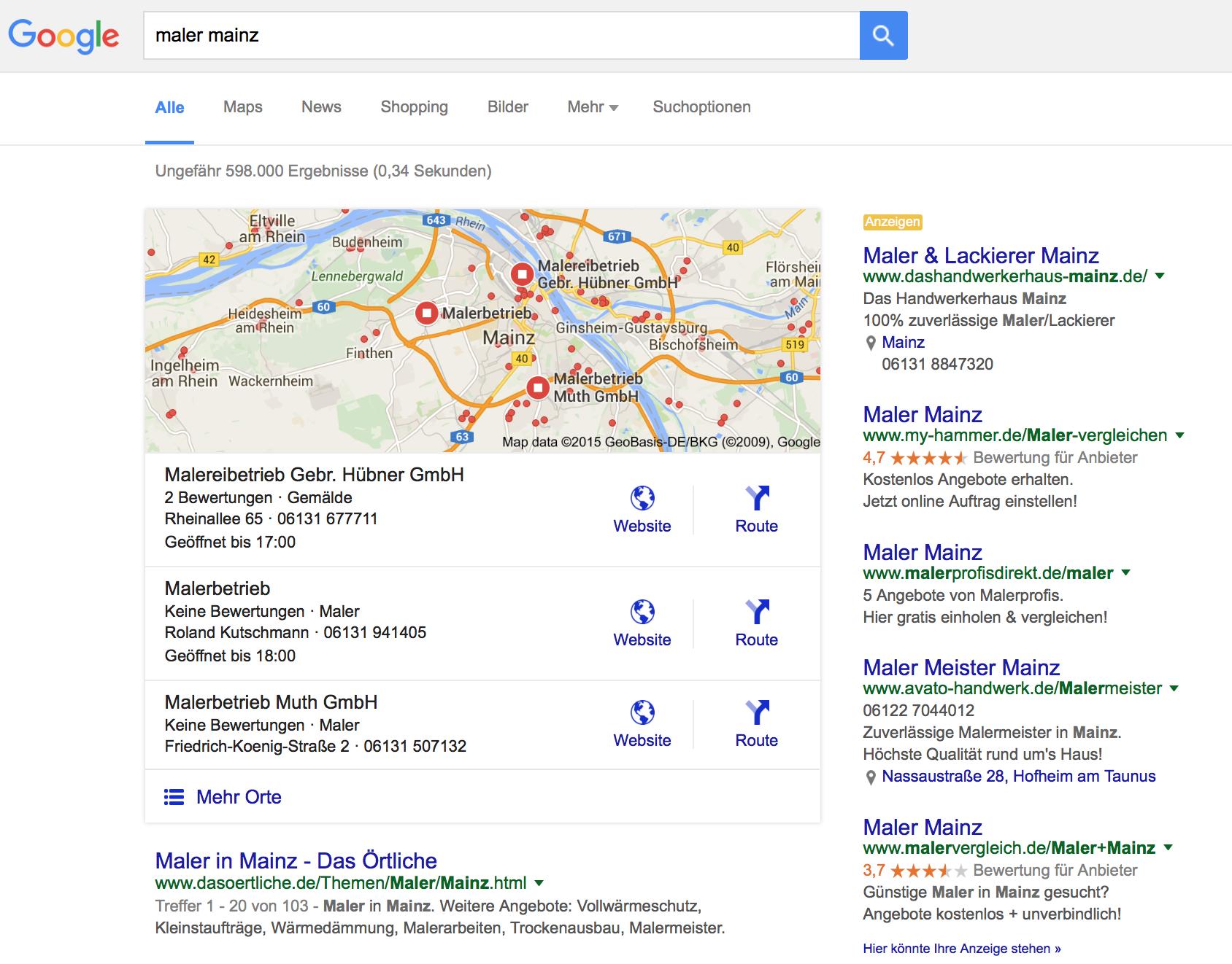 Google My Business Eergebnisseite