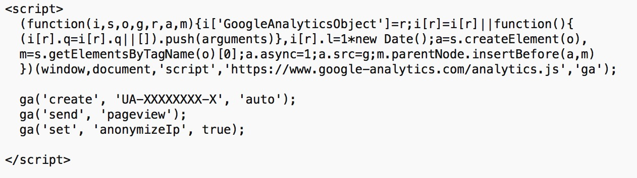 Google Analytics Anonymize IP Tracking Code